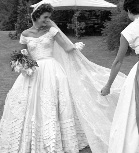 What s with the strapless wedding dress miss smalls for Jackie kennedy wedding dress